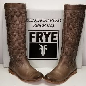 FRYE Women's Paige Tall Woven Grey Boots 7.5 RARE!